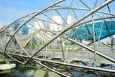 Helix Bridge and downtown of Singapore — Stock Photo
