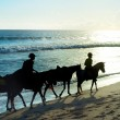 People riding a horses on the beach of Bali — Stock Photo #43185283