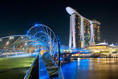 Helix Bridge and Marina Bay Sands — Stock Photo