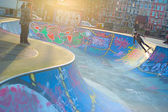 Amsterdam skate grounds and skaters — Stock Photo