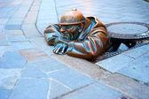 Bratislava Cumil statue — Stock Photo