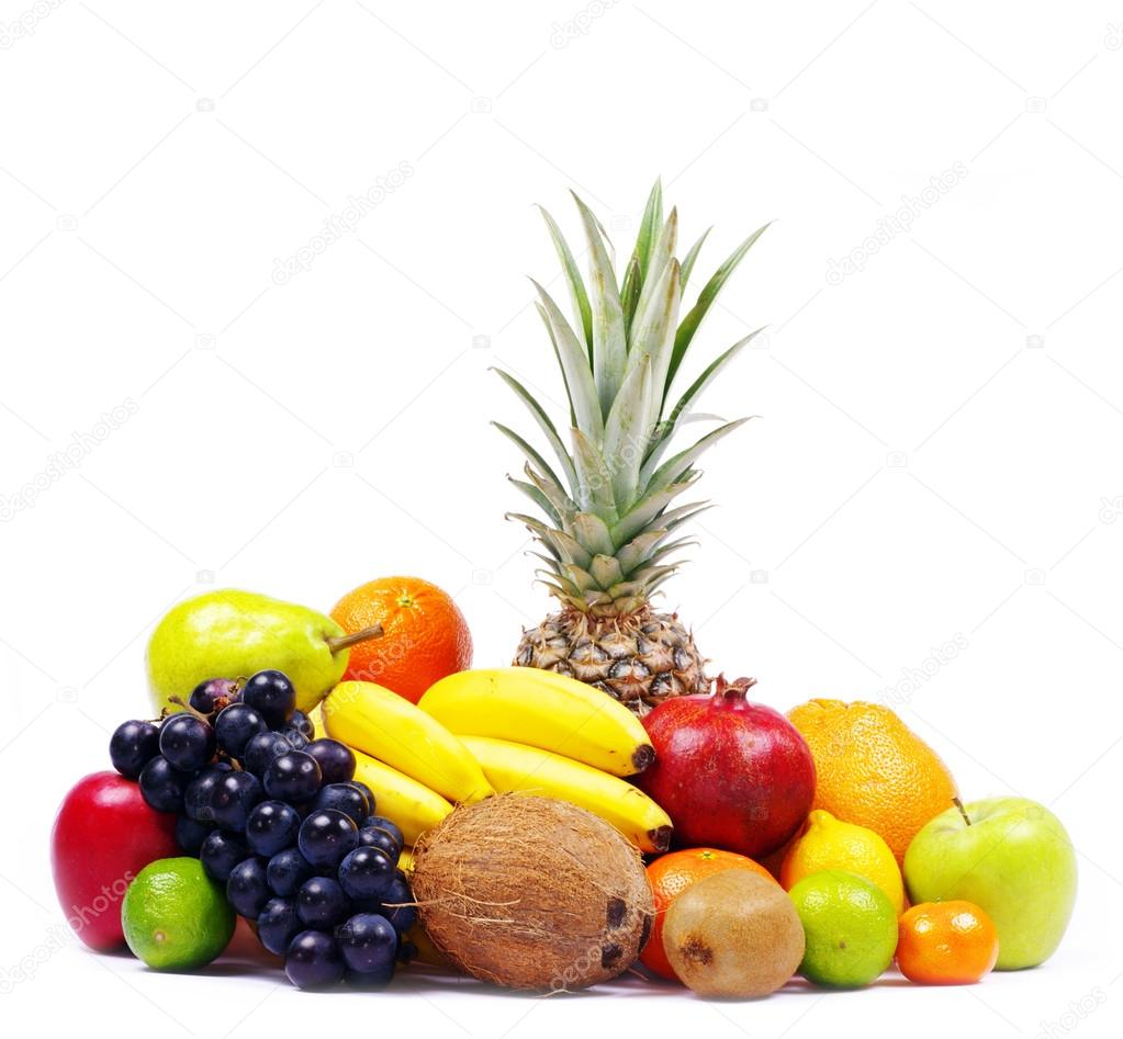 Composition with fruits isolated on white  Stock Photo #13476437