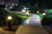 Trädgård på natten — Stockfoto