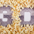 "Text ""3D"" in the popcorn — Stock Photo"