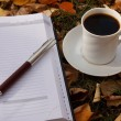 Autumn scene. Coffee cup and books - Foto Stock