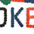 Poker written with poker chips — ストック写真