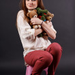 Girl with soft toys — Stock Photo #18043887