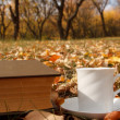 Autumn scene. Coffee cup and books — Stok fotoğraf