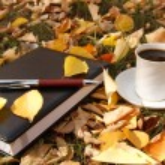 cena de outono. livros e café — Foto Stock