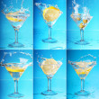 An lemon splashing into a martini. six large images — Stock Photo