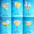 An lemon splashing into a martini. six large images — Stock Photo #18044453