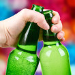 Green bottle. disco background — Lizenzfreies Foto