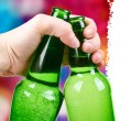 Green bottle. disco background — Stock Photo