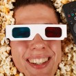 Young guy in the popcorn — Foto Stock