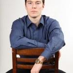 podnikatel, sedí na židli — Stock fotografie