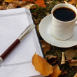 Осенняя Сцена. Кофе Кубок и книги — Стоковое фото