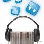 Music scene. Headphones to the audio cartridges. — Stock Photo
