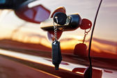 Car keys at sunrise — Stock Photo