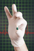 Pill in hand — Stock Photo