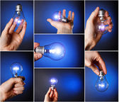 Light bulb in his hand. set of images — Stock Photo