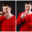 Young guy eats pepper. A series of consecutive shots. — Stock Photo