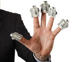 Shirt for dollars in the hand of a businessman — Foto Stock