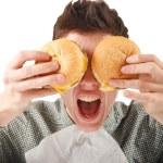 hamburger homme manger — Photo