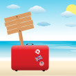 Suitcase on the beach. travel backgrounds — Stock Vector