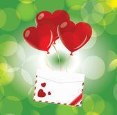 Milostný dopis s balónky-srdce — Stock vektor