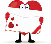 Cartoon heart holding a love letter — Vettoriale Stock
