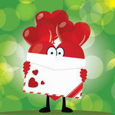 Cartoon heart holding a love letter — Stock Vector