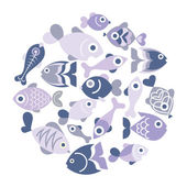 Blue Fishes — Stock Vector