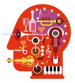 Music Head — Stock Vector