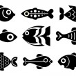 Fish icon set — Stock Vector