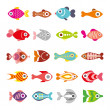 Fish vector icon set — Stock Vector