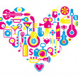 Cinema love - heart with many vector icons — Stock Vector