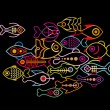 Fishes on black background — Stock Vector