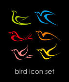 Set di icone di uccello — Vettoriale Stock