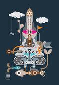 Rocket - abstract vector illustration — Stock Vector