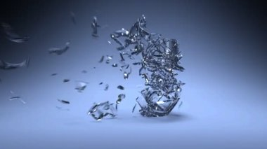 Glass crash slow motion animation — Stock Video