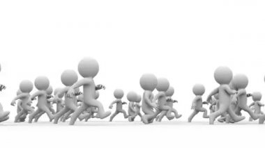 Beautiful dynamic 3d white cartoon crowd running — Stock Video