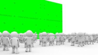 3d Cartoon crowd people applause — Stock Video