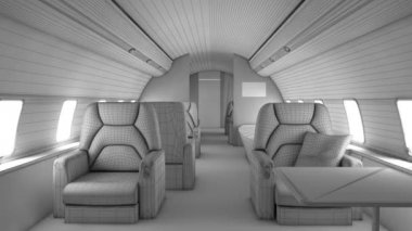 Walk through private plane interior — 图库视频影像