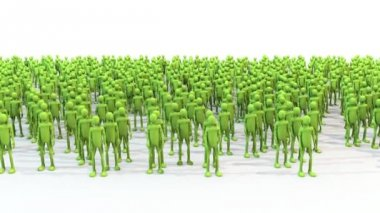 Crowd green characters with hands wave with shadows — Stock Video