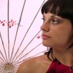 Lady with asian umbrella — Stock Photo #1077692