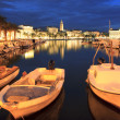 Split city by night — Stock Photo