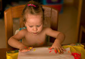 The baby girl drow by hands — Stock Photo
