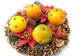 The christmas wreath with oranges — Stock Photo