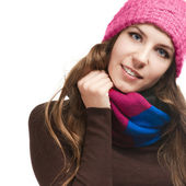 Beautiful woman in warm clothing closeup portrait — 图库照片