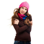 Beautiful woman in warm clothing closeup portrait — Photo